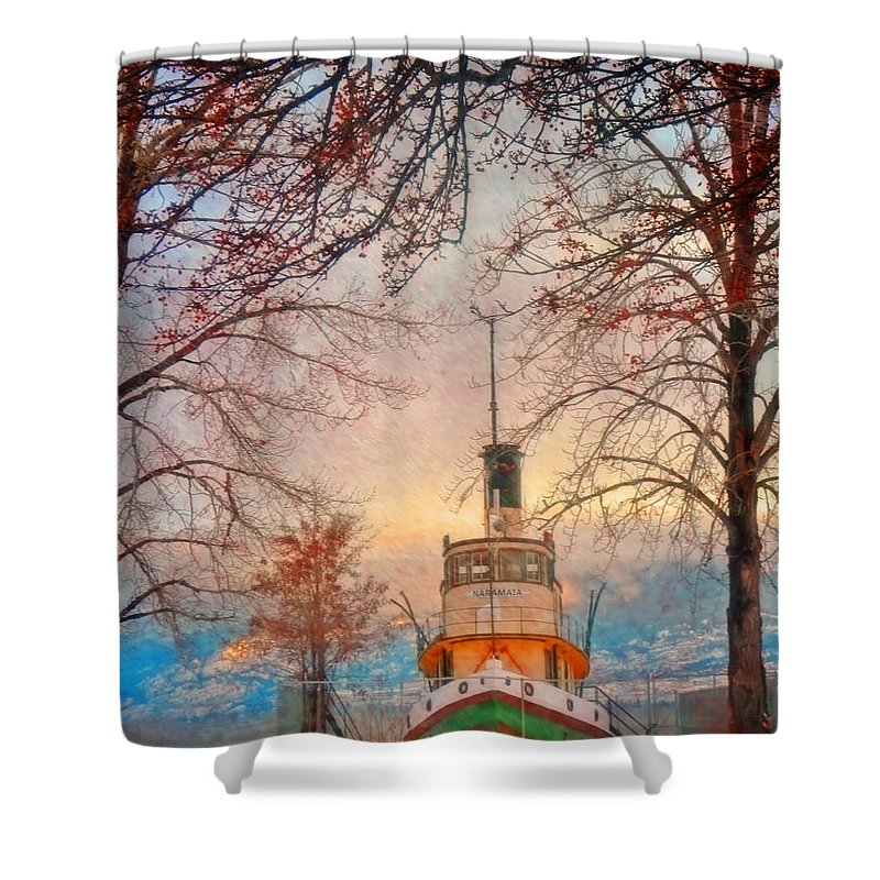 Tug Shower Curtain featuring the photograph Winter And The Tug Boat by Tara Turner