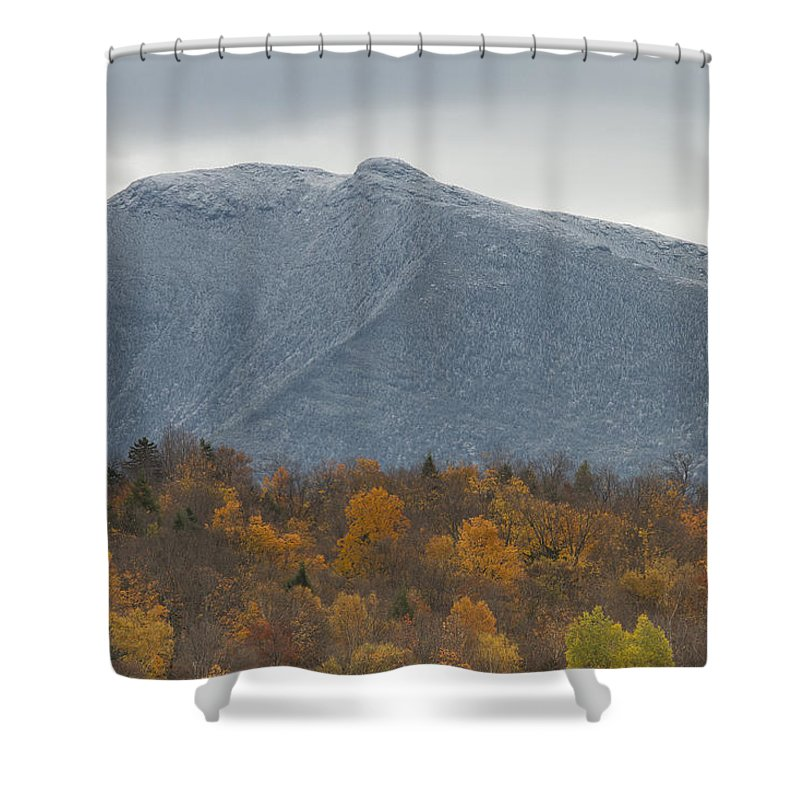 Vermont Shower Curtain Featuring The Photograph Winter Autumn Mount Mansfield Mountain By Andy Gimino