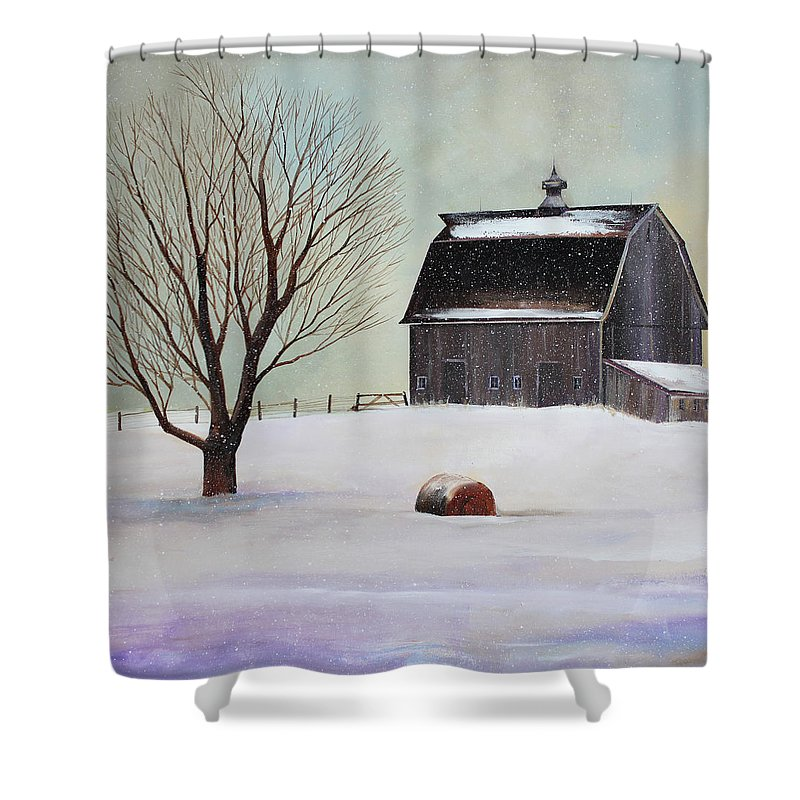 Barn Shower Curtain featuring the painting Winter Barn II by Toni Grote
