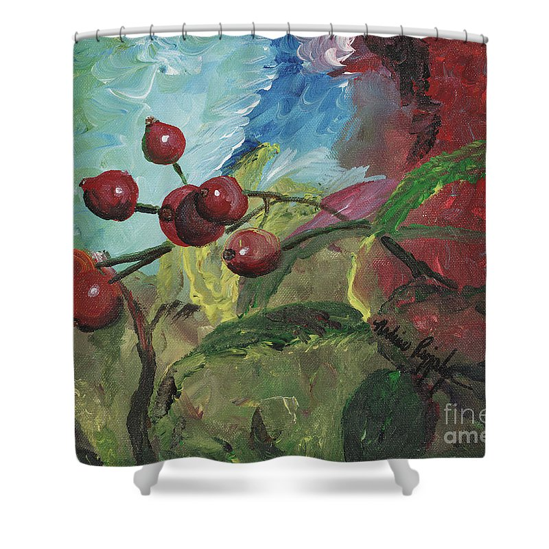 Berries Shower Curtain featuring the painting Winter Berries by Nadine Rippelmeyer
