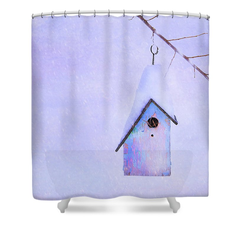 Birdhouse Shower Curtain Featuring The Photograph Winter By Theresa Tahara