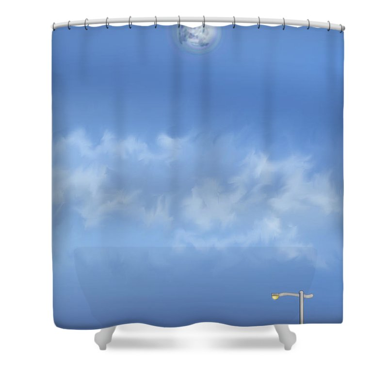 Moon Shower Curtain featuring the painting Winter Blue Moon At Three Forty Five In The Afternoon by Anne Norskog