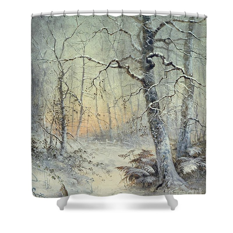 Winter Shower Curtain featuring the painting Winter Breakfast by Joseph Farquharson
