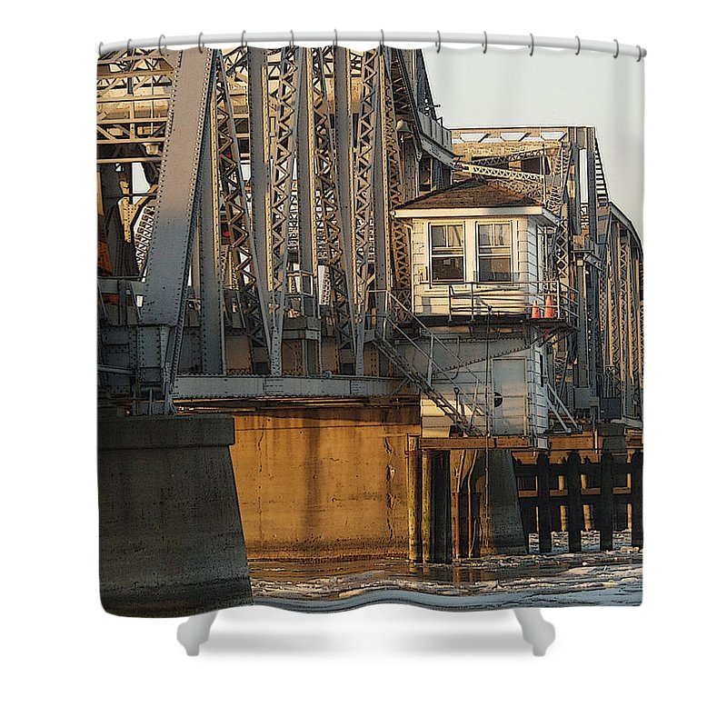 Bridge Shower Curtain featuring the photograph Winter Bridgehouse by Tim Nyberg