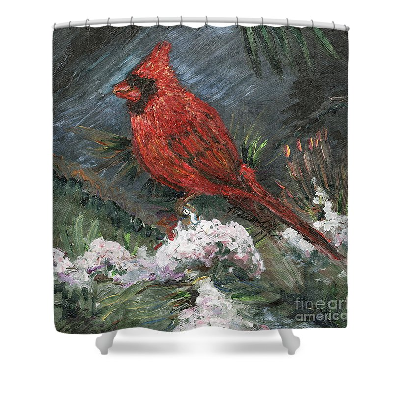 Bird Shower Curtain featuring the painting Winter Cardinal by Nadine Rippelmeyer