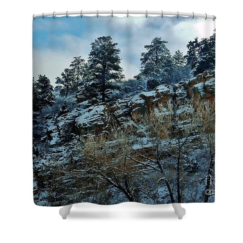Snow Shower Curtain featuring the photograph Winter Cliff by CL Redding