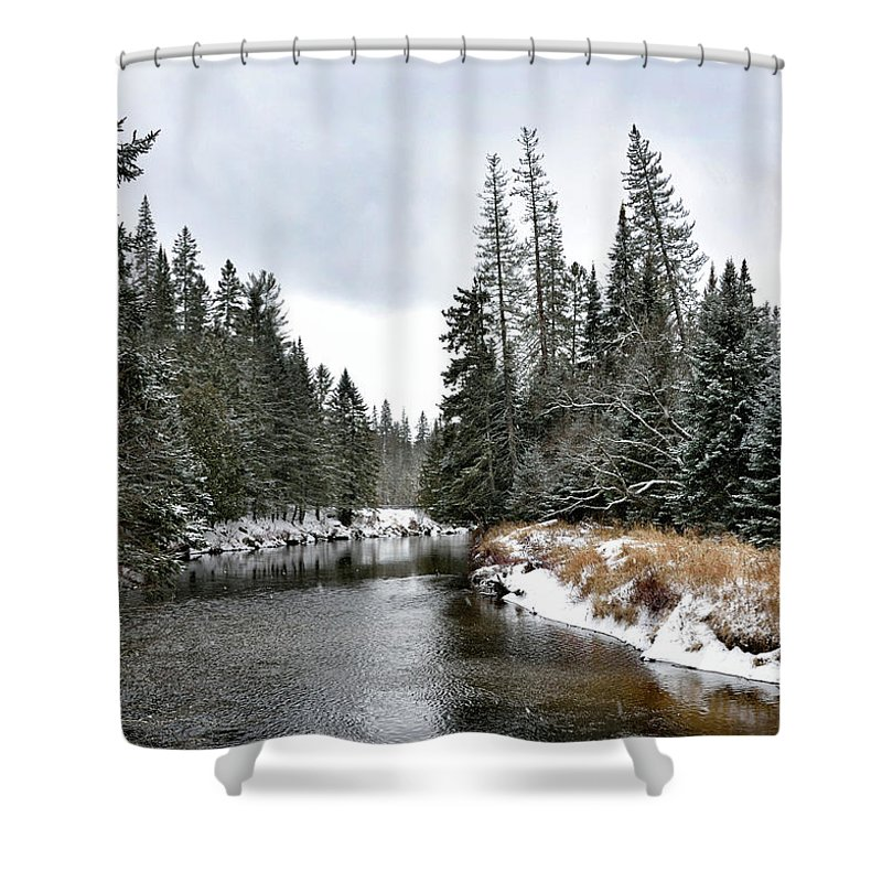 Winter Landscape Shower Curtain Featuring The Photograph Creek In Adirondack Park