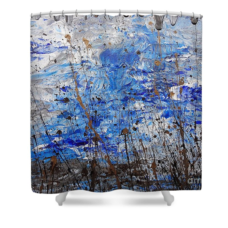 Winter Crisp Shower Curtain featuring the painting Winter Crisp by Jacqueline Athmann