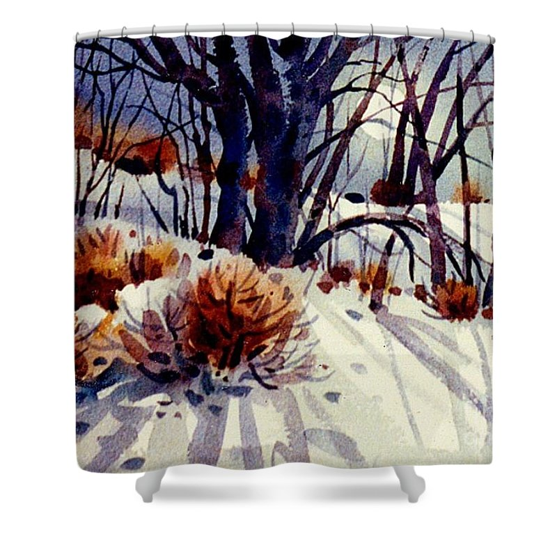 Snow Shower Curtain featuring the painting Winter Drifts by Donald Maier