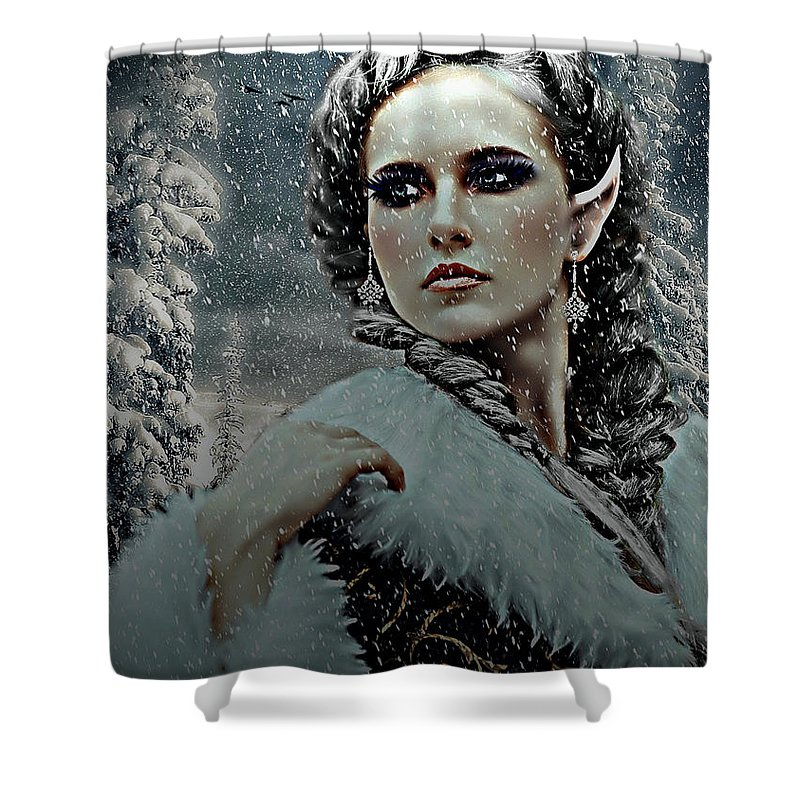 Elf Shower Curtain featuring the mixed media Winter Elf by G Berry