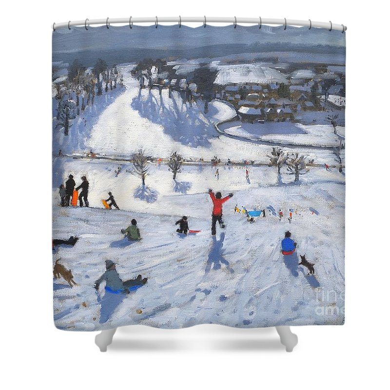 Winter Fun Shower Curtain featuring the painting Winter Fun by Andrew Macara