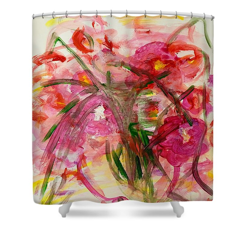 Pinks Shower Curtain featuring the painting Winter Gardens by Barbara Rose Brooker