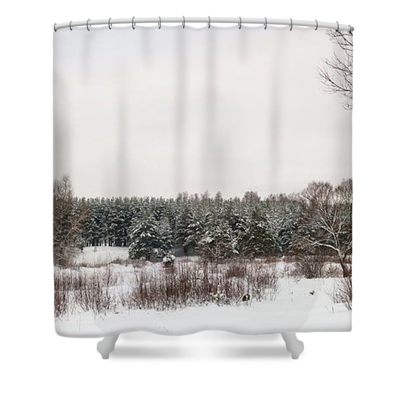 Backgrounds Shower Curtain featuring the photograph Winter Glade Under Snow. by Vadzim Kandratsenkau