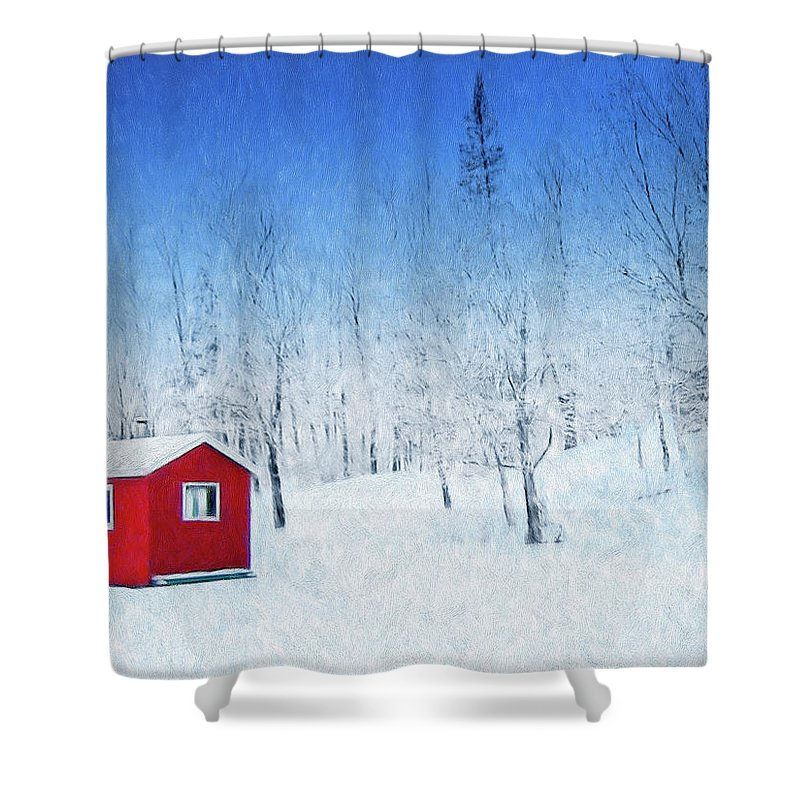 Winter Haven Shower Curtain featuring the painting Winter Haven by Dominic Piperata