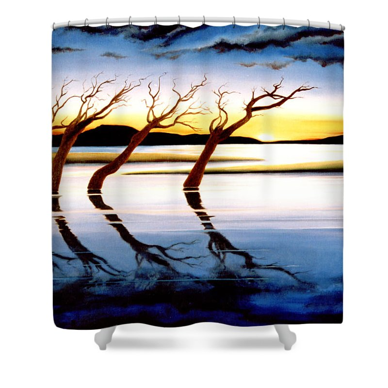 Seascape Shower Curtain featuring the painting Winter Heatwave by Mark Cawood