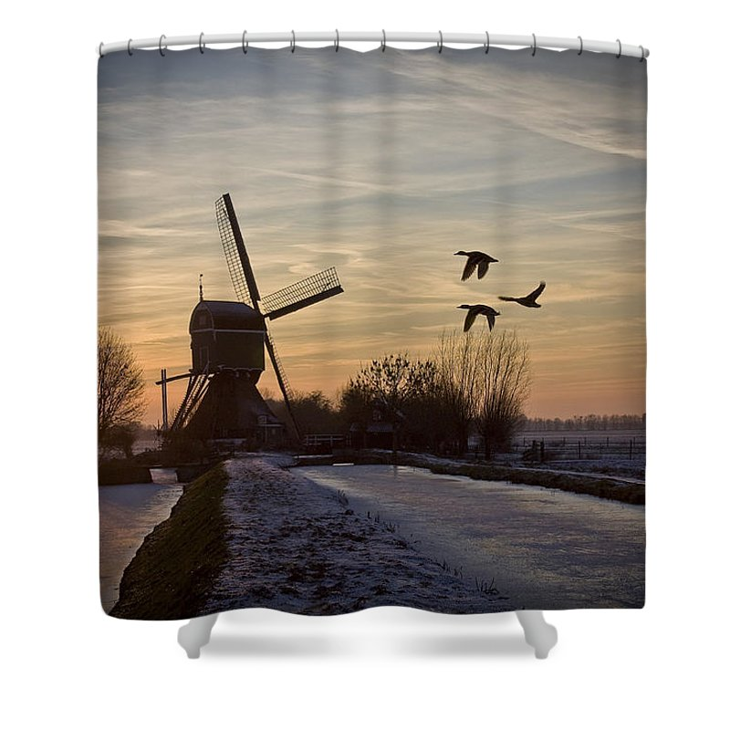 Dutch Shower Curtain featuring the photograph Winter In Holland-1 by Casper Cammeraat