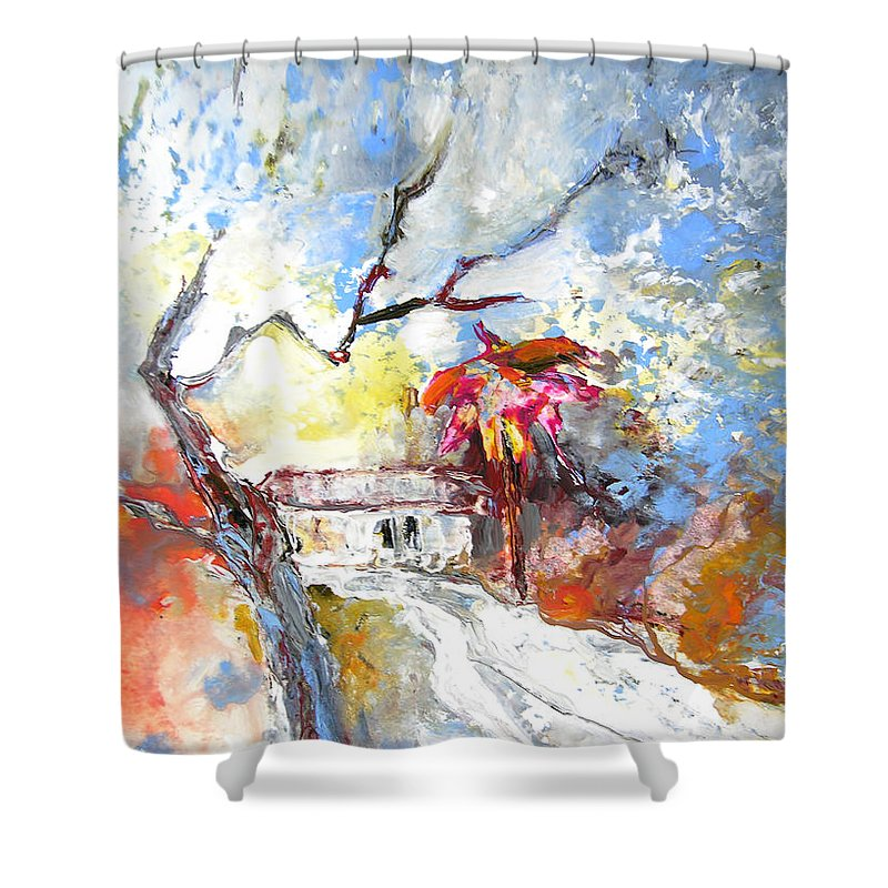 Spain Shower Curtain featuring the painting Winter In Spain by Miki De Goodaboom