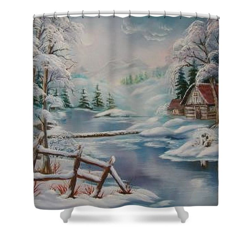 Winter Scapes Shower Curtain featuring the painting Winter In The Valley by Irene Clarke