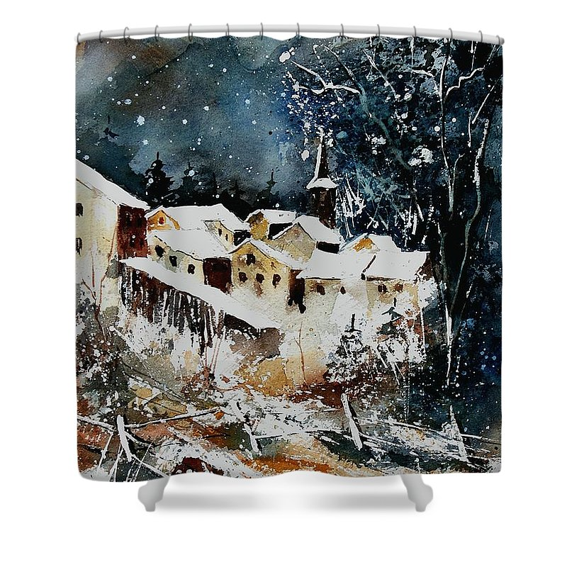Winter Shower Curtain featuring the painting Winter In Vivy by Pol Ledent