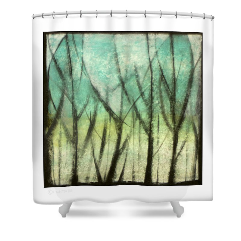 Trees Shower Curtain featuring the painting Winter Into Spring by Tim Nyberg