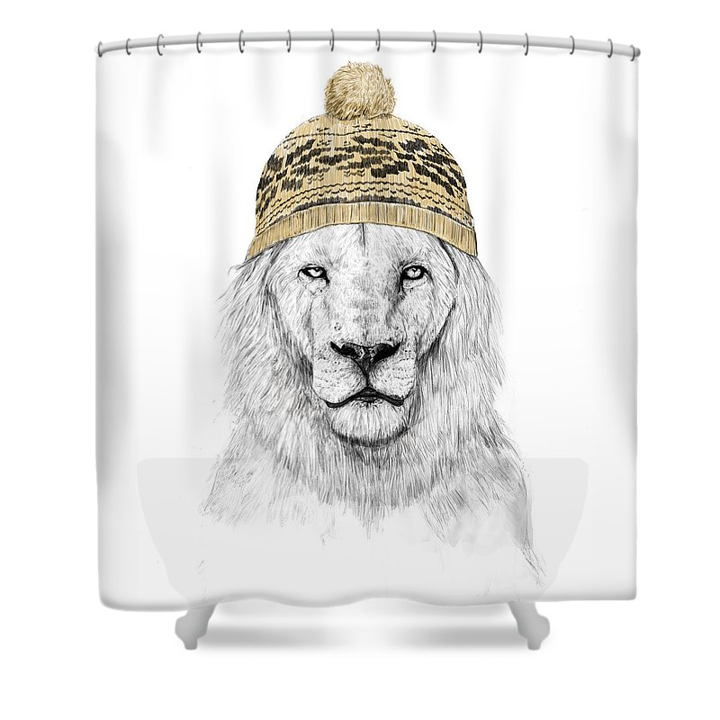 Lion Shower Curtain featuring the drawing Winter lion by Balazs Solti