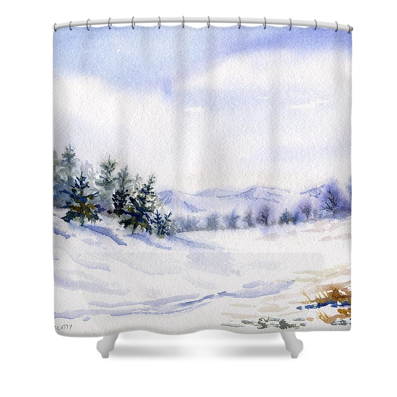 Winter Shower Curtain Featuring The Painting Landscape Snow Scene By Karla Beatty