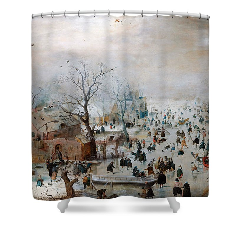Hendrick Avercamp Shower Curtain featuring the painting Winter Landscape With Skaters by Hendrick Avercamp