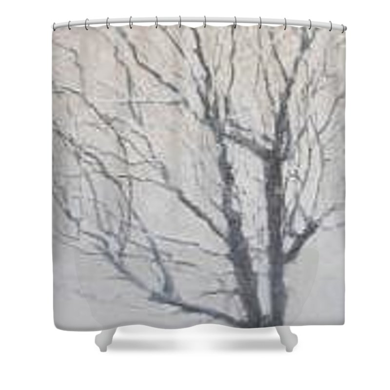 Tree Shower Curtain featuring the painting Winter by Leah Tomaino