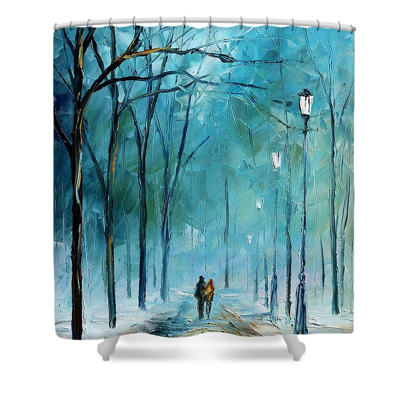 Landscape Shower Curtain featuring the painting Winter by Leonid Afremov