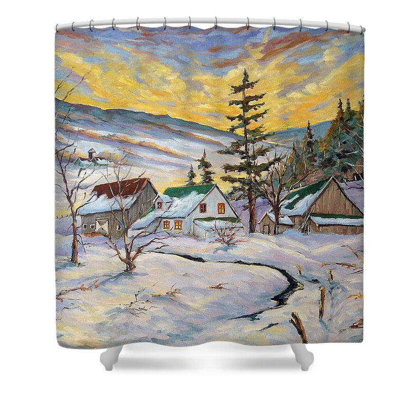 Landscape Shower Curtain featuring the painting Winter Lights by Richard T Pranke