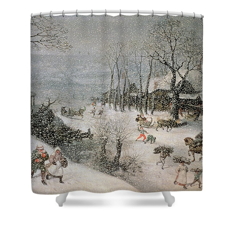 Snowy Shower Curtain featuring the painting Winter by Lucas van Valckenborch