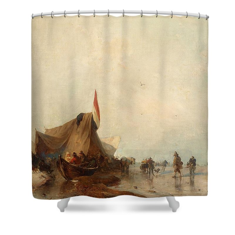 Carl Hilgers Shower Curtain featuring the painting Winter Market On Frozen Lake by Celestial Images