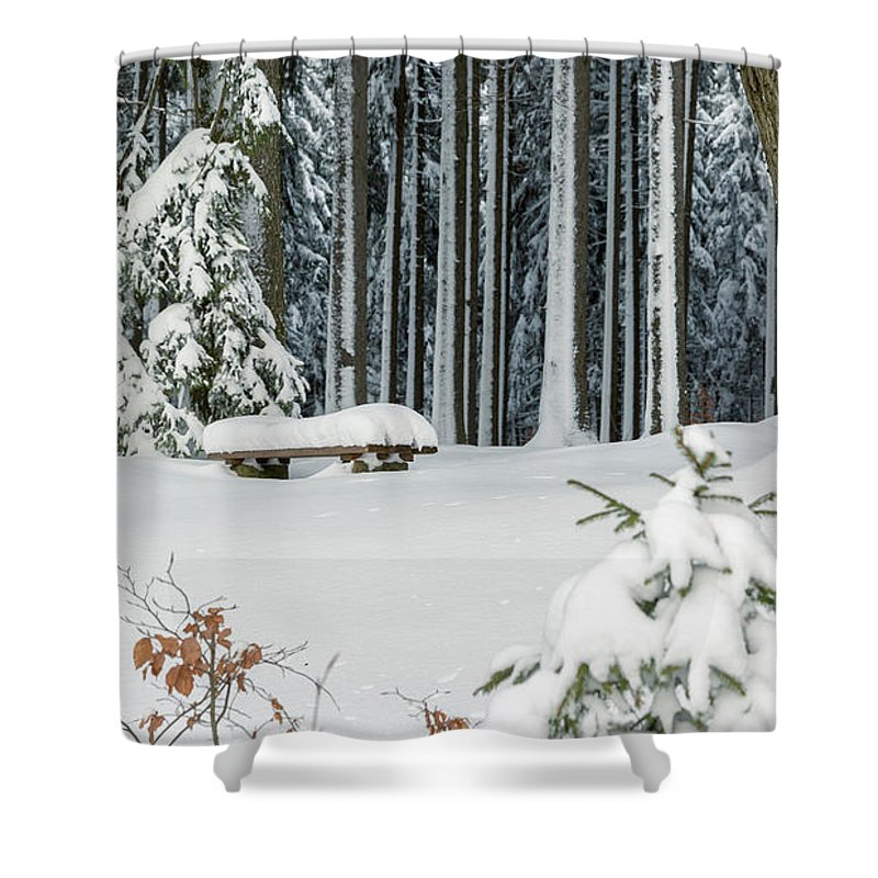 Snow Shower Curtain featuring the photograph Winter Moments In Harz Mountains by Andreas Levi
