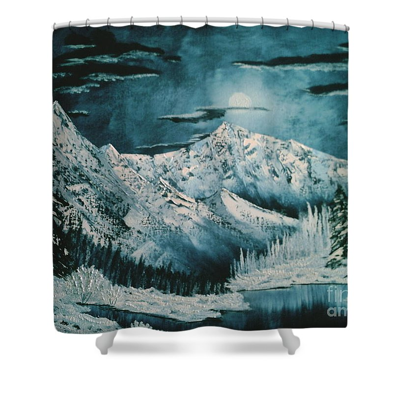 Winter Landscape Shower Curtain featuring the painting Winter Moon 2 by Jim Saltis