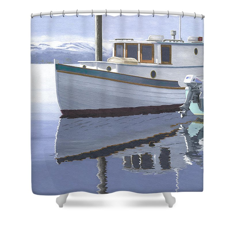 Marine Shower Curtain featuring the painting Winter Moorage by Gary Giacomelli