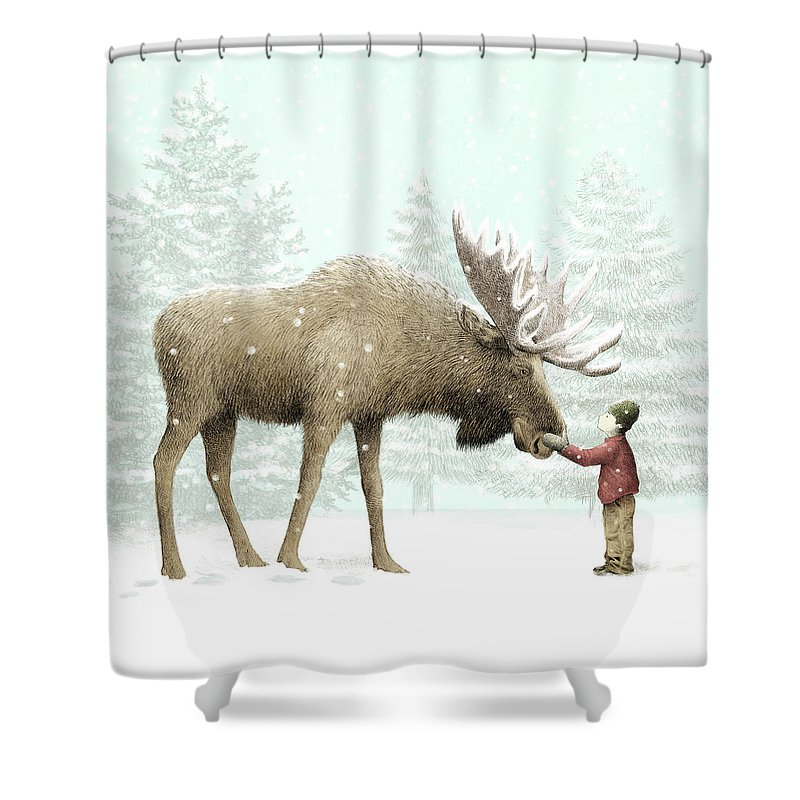 Winter Moose Shower Curtain For Sale By Eric Fan
