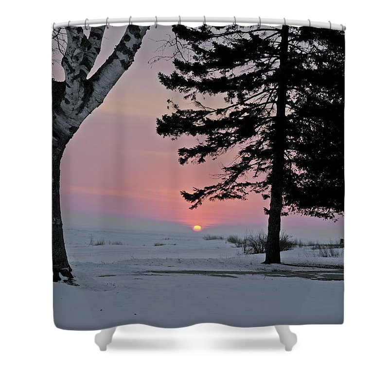 Old Mackinac Point Shower Curtain featuring the photograph Winter Morning by Michael Peychich