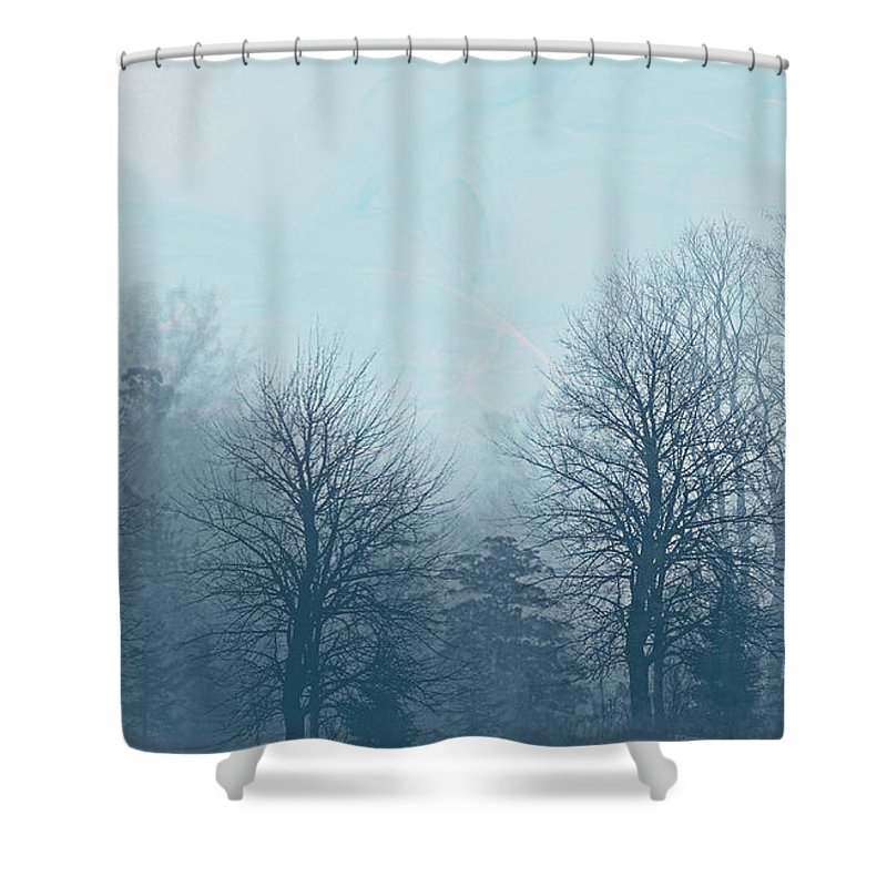 Trees Shower Curtain featuring the digital art Winter Morning by Milena Ilieva