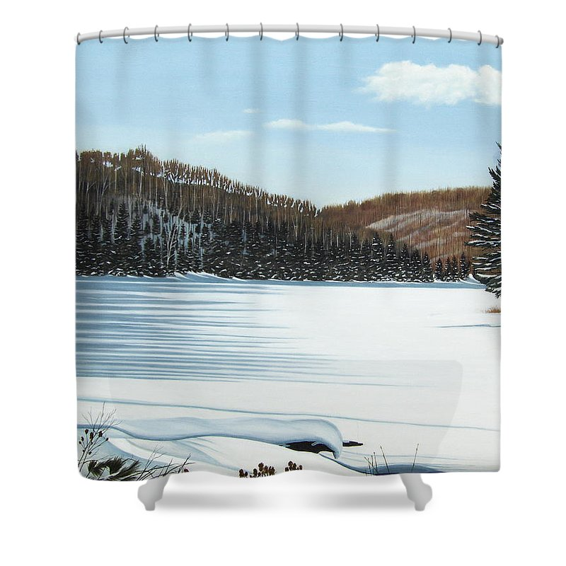 Landscapes Shower Curtain featuring the painting Winter On An Ontario Lake by Kenneth M Kirsch