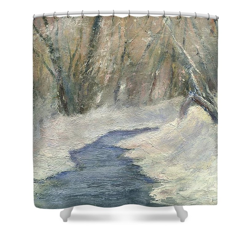 Snow Shower Curtain featuring the painting Winter On Stormcreek by Gail Kirtz