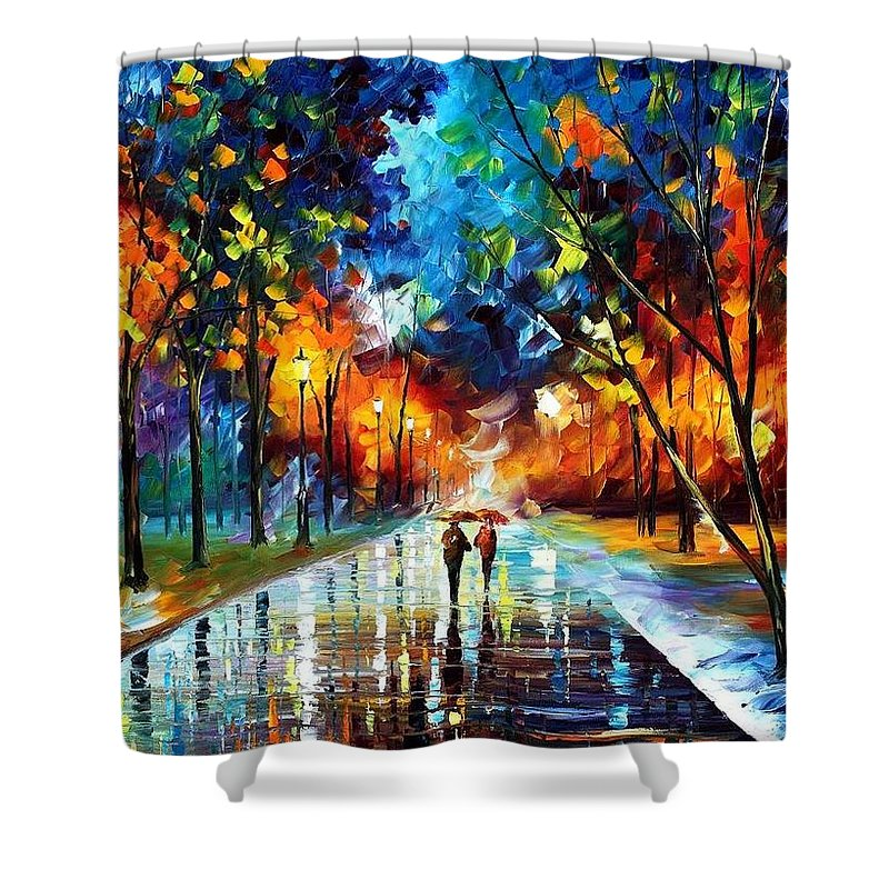 Afremov Shower Curtain featuring the painting Winter Park by Leonid Afremov
