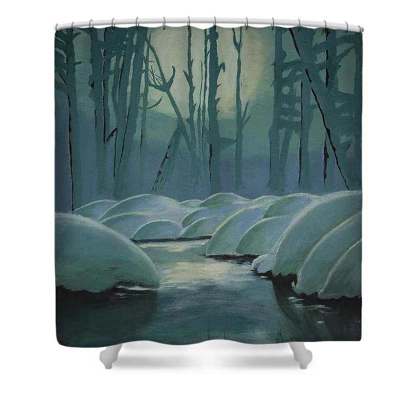 River Shower Curtain featuring the painting Winter Quiet by Jacqueline Athmann