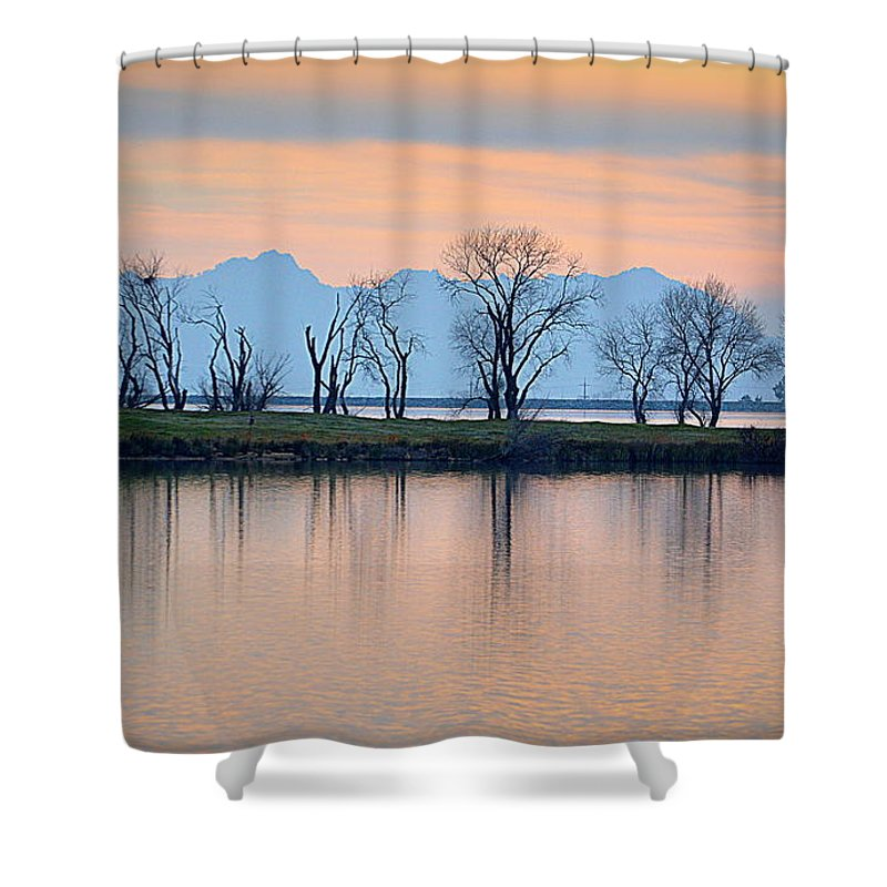 Scenic Shower Curtain featuring the photograph Winter Reflections by AJ Schibig