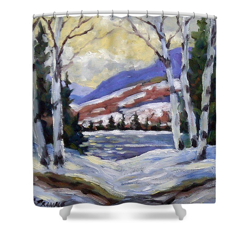 Art Shower Curtain featuring the painting Winter Reflections by Richard T Pranke