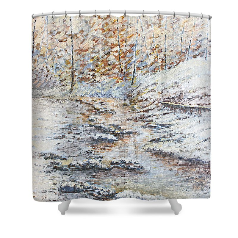 Landscape Shower Curtain featuring the painting Winter River by Todd Blanchard