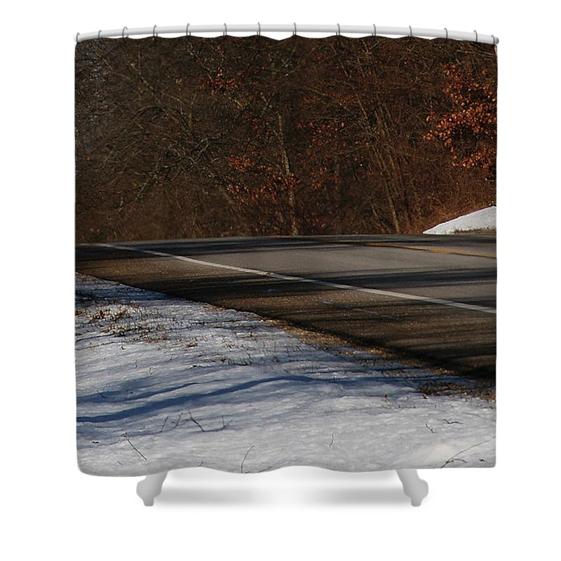 Winter Shower Curtain featuring the photograph Winter Run by Linda Shafer