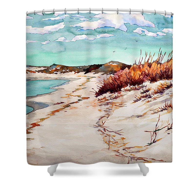 #water #beach #sawgrass #winter #capehenlopen #delawarebeaches #delawarestateparks #landscape Shower Curtain featuring the painting Winter Sands by Mick Williams