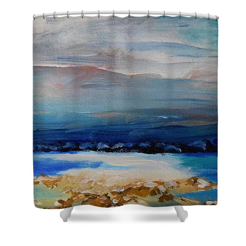 Winter Shower Curtain featuring the painting Winter Scenery by HelenaP Art