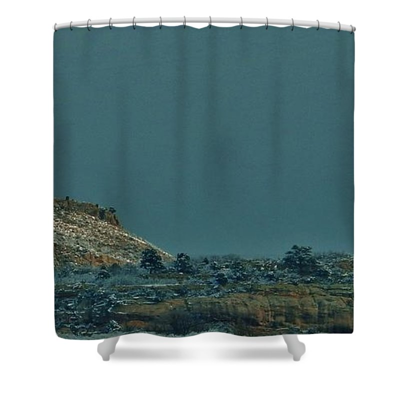 Snow Shower Curtain featuring the photograph Winter Skyline 2 by CL Redding