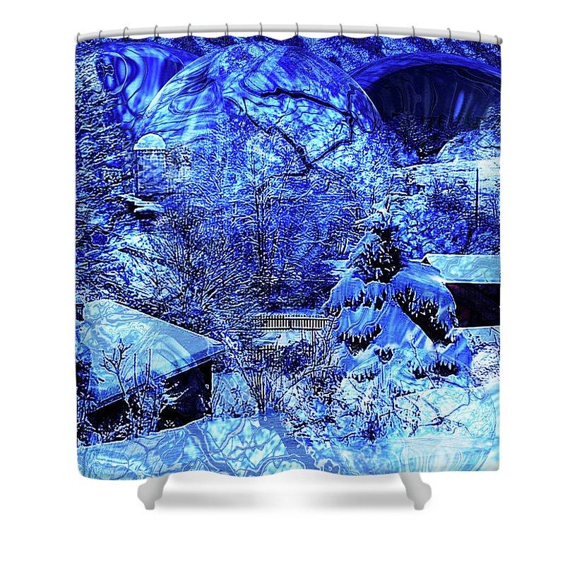 Blue Shower Curtain featuring the digital art Winter Solace by Robert Orinski